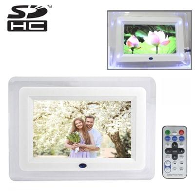 7 inch 4 Blue LED Lights Digital Picture Frame with Remote Control, Image Resolution: 800 * 480 (White)