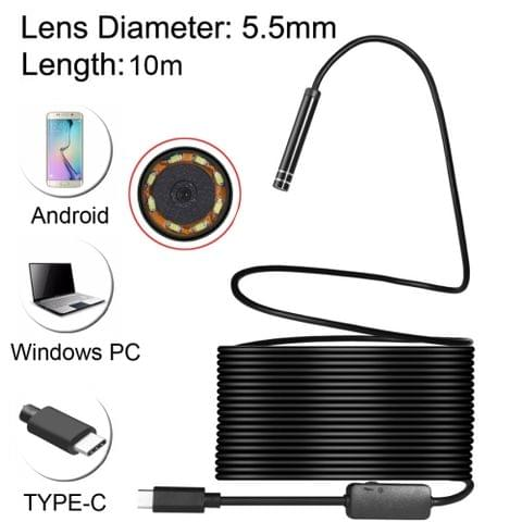USB-C / Type-C Endoscope Waterproof IP67 Snake Tube Inspection Camera with 8 LED & USB Adapter, Length: 10m, Lens Diameter: 5.5mm