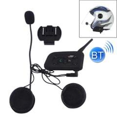 V6-1200 1200m Life Waterproof Wind-resistant Bluetooth Interphone Headsets for Motorcycle Helmet, Max Support: Six Riders by Bluetooth System(Black)