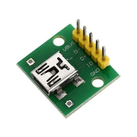 Mini USB to 2.54mm DIP 5P Adapter Module for Breadboard