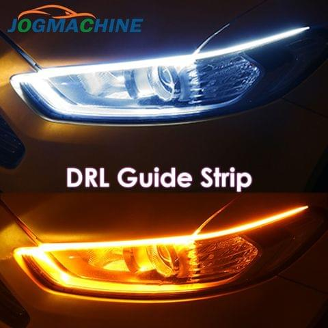 2x DRL ultra-thin 30 45 60cm Flexible daytime running light Soft car tube guide LED strip white red turn signal yellow waterproof