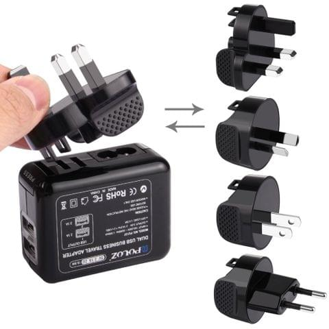 PULUZ 2 Ports USB 5V (2.1A + 2.1A) Wall Charger Set with Removable International UK + EU + US + AU Plug Travel Power Adapters for GoPro HERO4 Session /4 /3+ /3 /2 /1                                               ()