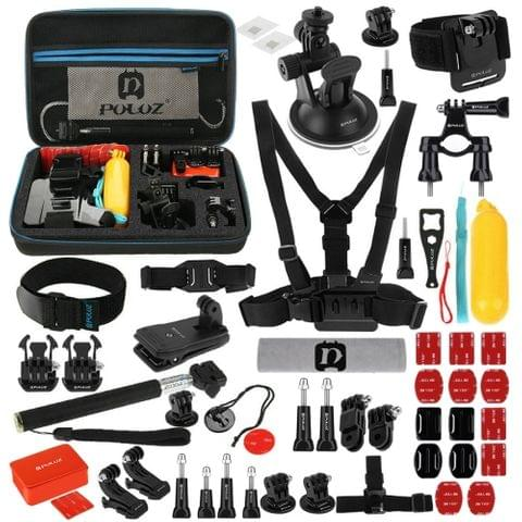 PULUZ 53 in 1 Accessories Total Ultimate Combo Kits with EVA Case (Chest Strap + Suction Cup Mount + 3-Way Pivot Arms + J-Hook Buckle + Wrist Strap + Helmet Strap + Extendable Monopod + Surface Mounts + Tripod Adapters + Storage Bag + Handlebar Mount) for  GoPro HERO7 /6 / 5/ 5 Session /4 Session / 4/3 + / 3/2/1, Xiaoyi and Other Action Cameras                                               ()
