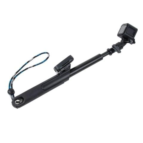 TMC 19-39 inch Smart Pole Extendable Handheld Selfie Monopod with Lanyard for GoPro HERO4 Session /4 /3+ /3 /2 /1, Xiaoyi Camera(Black)