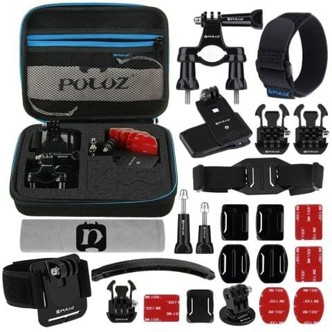 PULUZ 24 in 1 Bike Mount Accessories Combo Kits with EVA Case (Wrist Strap + Helmet Strap + Extension Arm + Quick Release Buckles + Surface Mounts + Adhesive Stickers + Tripod Adapter + Storage Bag + Handlebar Mount + Screws) for GoPro HERO7 /6 /5 /5 Session /4 Session /4 /3+ /3 /2 /1, Xiaoyi and Other Action Cameras