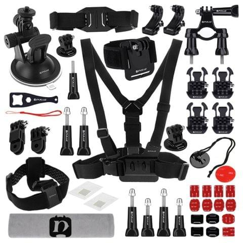 PULUZ 45 in 1 Accessories Ultimate Combo Kits (Chest Strap + Suction Cup Mount + 3-Way Pivot Arms + J-Hook Buckle + Wrist Strap + Helmet Strap + Surface Mounts + Tripod Adapter + Storage Bag + Handlebar Mount + Wrench) for GoPro NEW HERO /HERO7 /6 /5 /5 Session /4 Session /4 /3+ /3 /2 /1, Xiaoyi and Other Action Cameras                                                ()