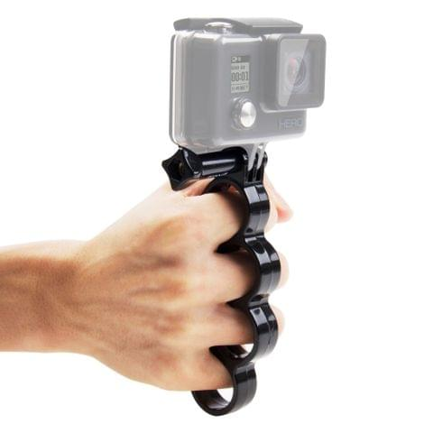 PULUZ Handheld Plastic Knuckles Fingers Grip Ring Monopod Tripod Mount with Thumb Screw for DJI Osmo Action, GoPro NEW HERO /HERO7 /6 /5 /5 Session /4 Session /4 /3+ /3 /2 /1, Xiaoyi and Other Action Cameras(Black)	    		        	