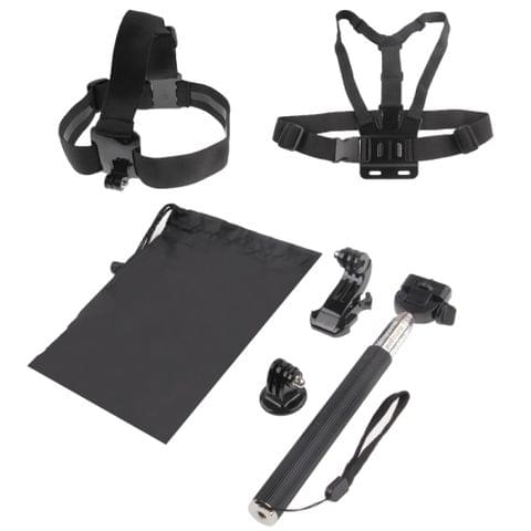 ST-143 6 in 1 Chest Strap (Type B) + Head Strap (Type B) + Monopod Pole + Tripod Adapter + J-shaped Bracket + Pouch for GoPro NEW HERO /HERO7 /6/ 5 /5 Session /4 /3+ /3 /2 /1(Black)