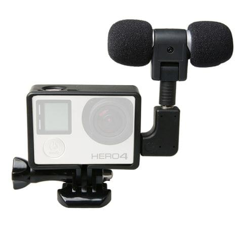 External High Fidelity Mini USB Stereo Microphone Kits with Side Case Frame + Windshield for GoPro HERO4 /3+ /3 Camera