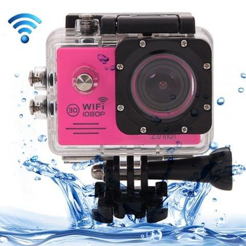 SJ7000 Full HD 1080P 2.0 inch LCD Screen Novatek 96655 WiFi Sports Camcorder Camera with Waterproof Case, 170 Degrees HD Wide-angle Lens, 30m Waterproof(Magenta)