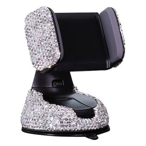 Car-mounted diamond suction cup mobile phone holder