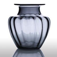 CASAMOTION Modern Hand Blown Jar Shaped Glass Vase Ribbed Design Home Art Decoration Floral Arrangements