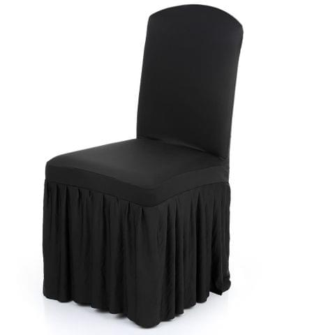 Pleated Solid Color Ruffled Stretchable Removable Washable Home Dining Chair Cover Spandex Seats Slipcover for Wedding Party Hotel Dining Room