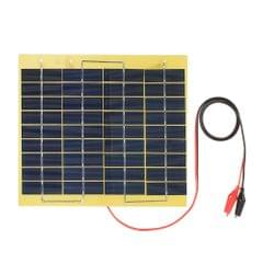 5W 18V Polycrystalline Silicon Solar Panel with Alligator Clips Outdoor Portable Charger for 12V Storage Battery