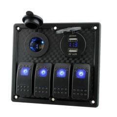 12V-24V Waterproof 4-Gang Toggle Switch Panel Led Rocker Switch Panel with Cigarette Lighter Socket Dual USB Port Voltmeter for Car Boat Marine Motorcycle