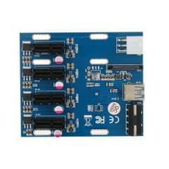 PCI-E 1X Expansion Kit 1 to 4 Slots Switch Multiplier Hub Riser Card Adapter with USB 3.0 Cable Pcie Mining Modules