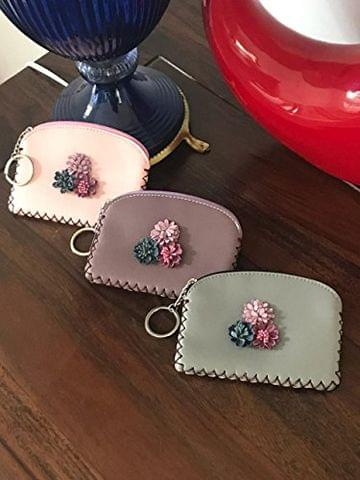 STRIPES Light Pink Pu Leather Flower With Tassel Small Coin Purse