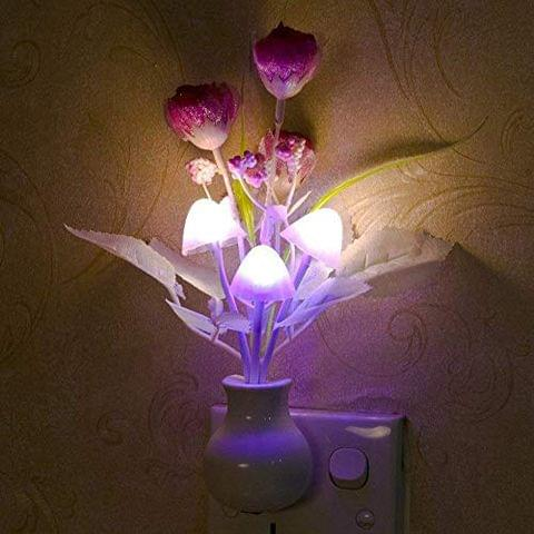 STRIPES Beautiful and Romantic Light Pink Rose Flower with Mushroom and Leaf Sensor Led Night Lights for Home