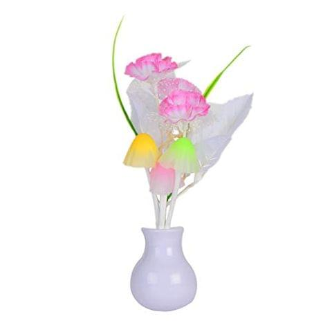 STRIPES Beautiful and Romantic Light Pink-Color Flower with Mushroom and Leaf Sensor Led Night Lights for Home