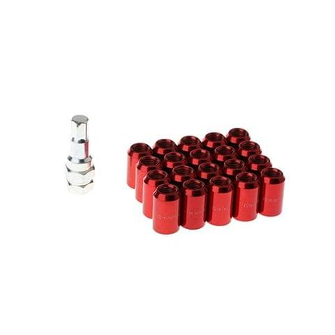 20 Pieces Universal Auto Car M12x1.5MM Wheel Rim Lug Nuts with Removal Tool - red
