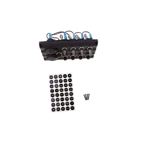 4 Gang LED Waterproof Toggle Switch Panel w/ 5 Breaker Voltmeter Boat/Marine
