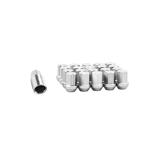 20 Pieces M12 1.5 Wheel Lug Nut Lock Kit Wheel Lock Bolts - 35x22mm, Silve