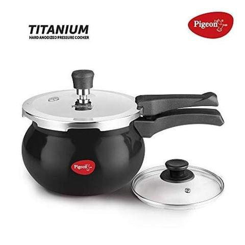Pigeon by Stovekraft 12639 Titanium Hard Anodised Aluminium Handi Pressure Cooker, 3 litres, Black