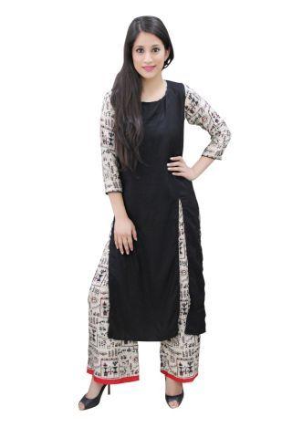 Black Color Solid Kurti With Front Slit