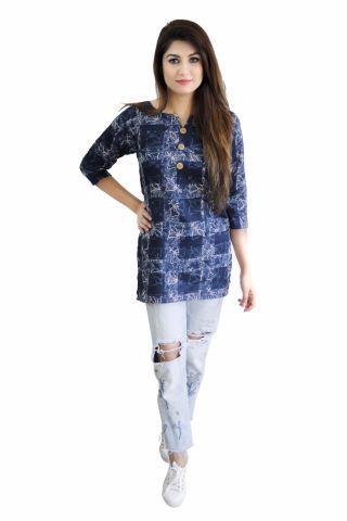 Blue Printed Short Kurti