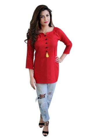 Solid Red Color Short Kurti