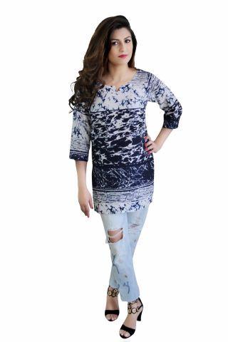 Navy Blue & White Printed Short Kurti
