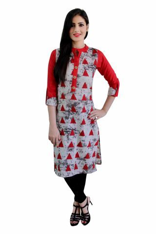 Red & Beige Printed Knee Length Cotton Kurti