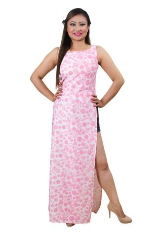 Pink & White Emboss High Slit Maxi Top