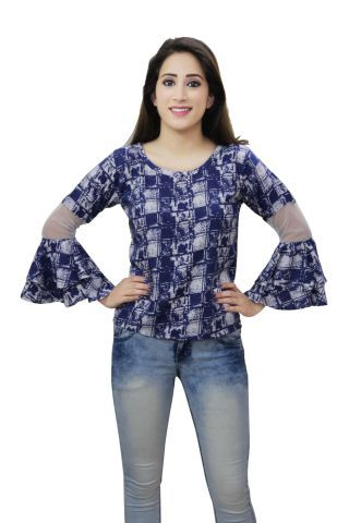 Blue Printed frill sleeves casual top
