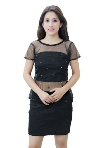Black Net top with embellished pearls.