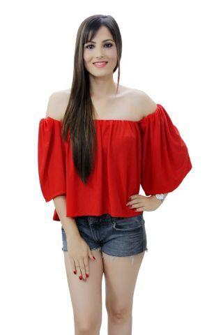 Red color off shoulder top