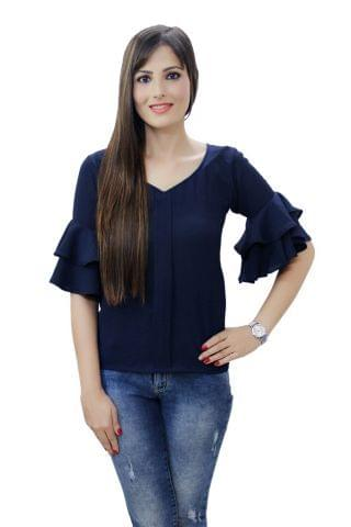 Solid Navy Blue color Ruffel Bell Sleeves Top