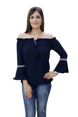 Solid Navy Blue color Ruffle Bell Sleeves Top