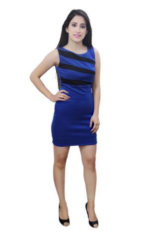 Royal Blue and Black colour designer party wear dress