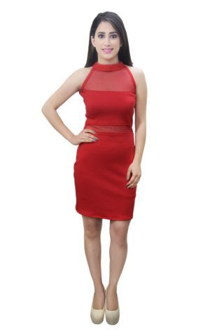 Solid Red colour Bodycon Net Dress