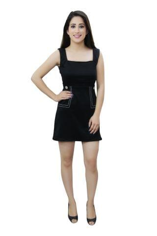Black colour casual A line dress with square neck