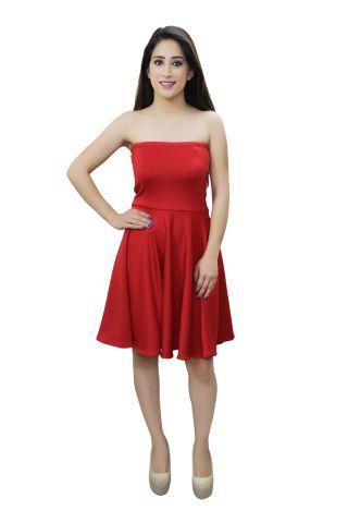 Red colour off shoulder skater dress