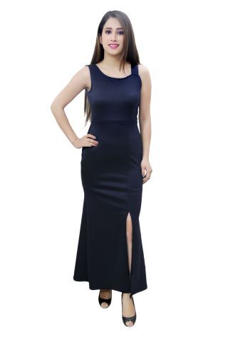 Navy Blue colour maxi dress with front slit