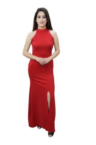 Red colour high slit maxi dress.
