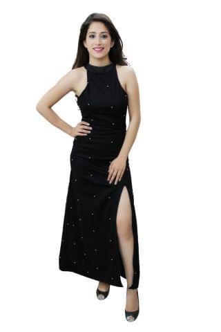 Black colour pearl embellished high slit maxi dress.