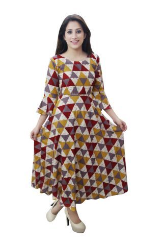 Rayon Geometric Print maxi dress
