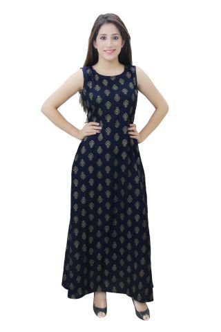 Blue color Printed A- Line Fusion Maxi Dress