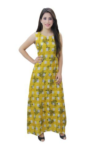 Yellow and White Printed A- Line Fusion Maxi Dress