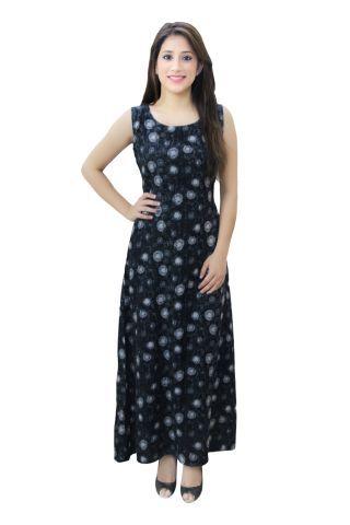 Black Printed A- Line Fusion Maxi Dress