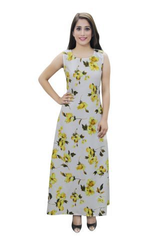 Multi-color Floral Printed A- Line Fusion Dress